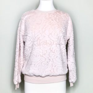 Forever 21 Floral Print Fuzzy Sweatshirt Sz Small